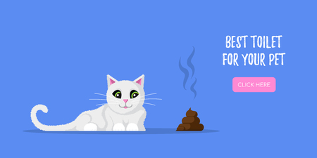 Picture of cute cat and poop lying beside. Concept banner for pet shop. Flat style illustration. Illustration