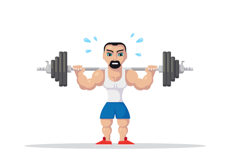 Weight Lifting athlete with barbel on neck back. Gym workout concept. Flat style character design.