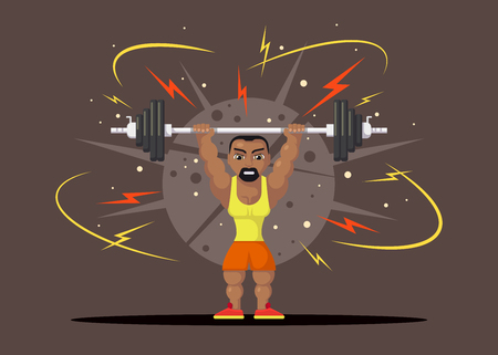 Weight Lifting athlete with barbel doing squat and jerk. Gym workout concept. Flat style character design. Illustration