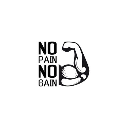 Kein Schmerz kein Gewinn. Motivationszitat für Gymnastikübungen mit muskulösem Arm. Fitness, Bodybuilding-Konzept.