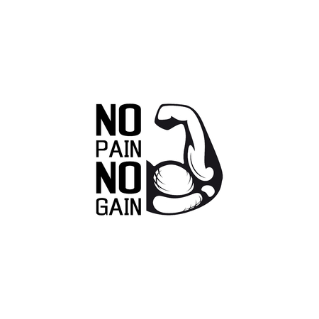No pain no gain. Gym workoun motivation quote with muscular arm. Fitness, bodybuilding concept.