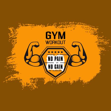 Kein Schmerz kein Gewinn. Gym Workoun Motivationszitat mit muskulösem Arm auf grungy Hintergrund mit Pinselstrichen. Fitness, Bodybuilding-Konzept.