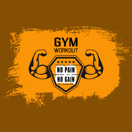 No pain no gain. Gym workoun motivation quote with muscular arm on grungy background with paint brush strokes. Fitness, bodybuilding concept. Иллюстрация