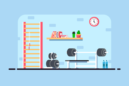 Flat style illustration of gym interior. Heavy barbell, barbell rack and additional gym equipment. Bodybuilding, fitness, sport, healthy lifestyle concept. 版權商用圖片 - 110691230