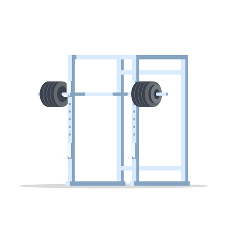 Squat rack with heavy barbell isolated on white background. Gym equipment. Bodybuilding, fitness, powerlifting concept. Flat style illustration.