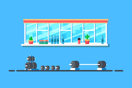 Flat style illustration of gym interior. Heavy barbell for deadlift and additional gym equipment. Bodybuilding, fitness, sport, healthy lifestyle concept.