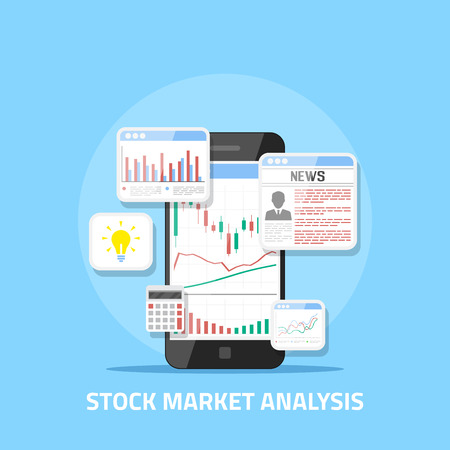 Flat style banner design. Stock market analysis concept, online forex trading, investment.