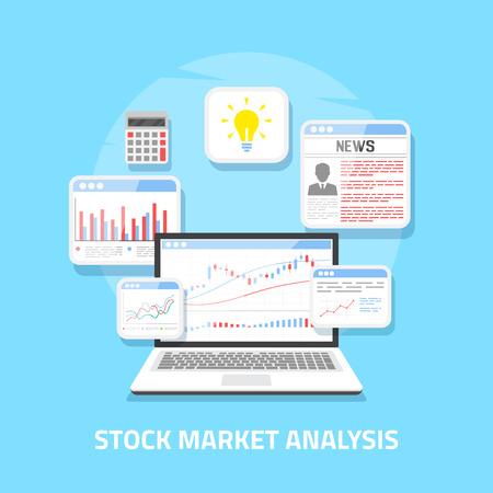 Conception de bannière de style plat. Concept d'analyse boursière, trading forex en ligne, investissement.
