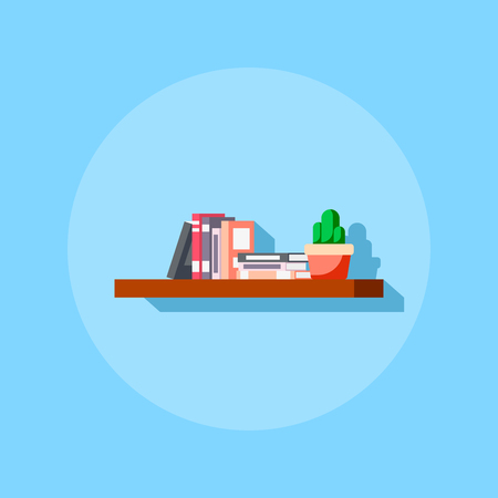 Flat style icon of bookshelve with books and cactus. Illustration
