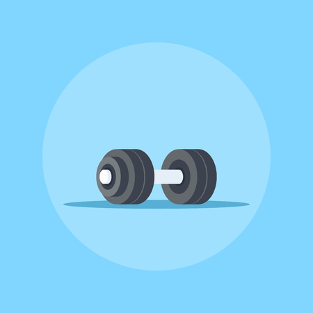 Picture of heavy dumbbell. Bodybuilding, fitness, sport, healthy lifestyle concept. Flat style illustration. Ilustrace