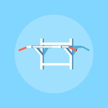 Immagine di una barra orizzontale per pull-up. Disegno dell'icona di stile piatto.