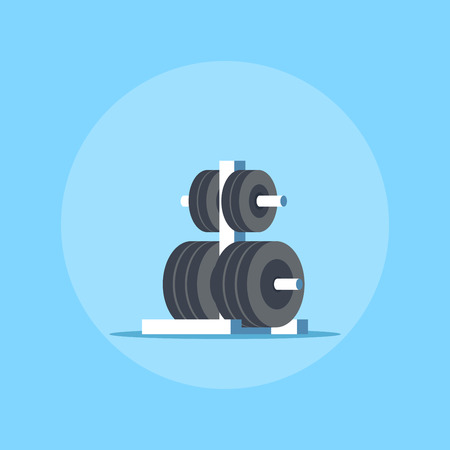 Metal rack with additional weights for barbell. Flat style icon design. Bodybuilding, fitness, sport, healthy lifestyle concept. Illustration