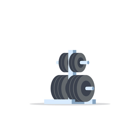 Metal rack with additional weights for barbell. Flat style icon design isolated on white background. Bodybuilding, fitness, sport, healthy lifestyle concept. Illustration