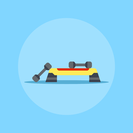 Fitness step board icon with two dumbbels. Active and healthy lifestyle concept.