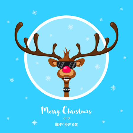 Reindeer Rudolf with red nose. Character design. Cartoon Christmas flat style illustration. Greeting card for Christmas celebration. Illustration