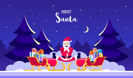 Santa doing splits on two sledges filled with gift boxes. Humorous greeting card for Christmas celebration. Flat style illustration. Stock Illustratie