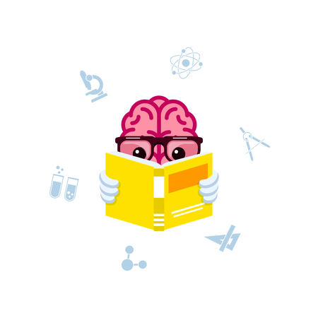Human brain reading book. Brain training and education concept, Flat style illustration.
