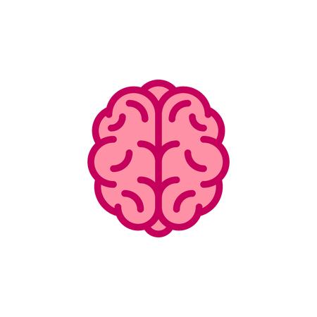 Stylized human brain icon. Flat style illustration.