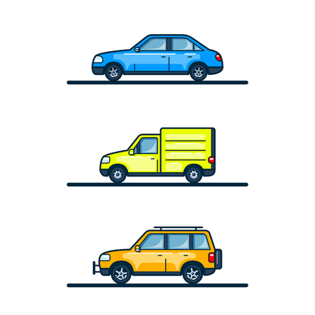 Set of car icons isolated on white background. Colorful flat style lineart illustration.