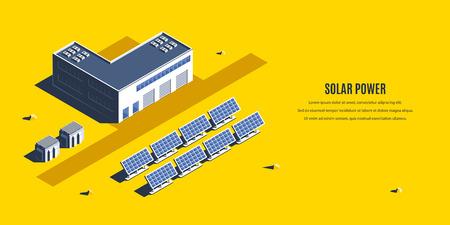 Isometric solar power plant. 3D concept of renewable energy Illustration