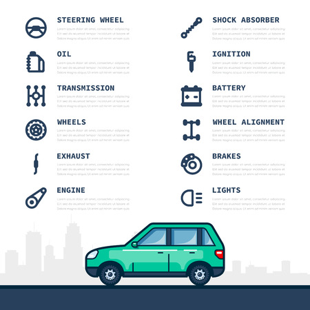 Infographic template with car and car parts icons, service and repair concept. Flat style line art illustration. Vector Illustration