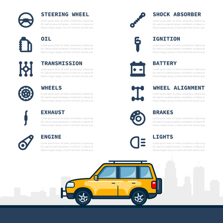 Modèle d'infographie avec icônes de pièces de voiture et de voiture, concept de service et de réparation. Illustration d'art de ligne de style plat.