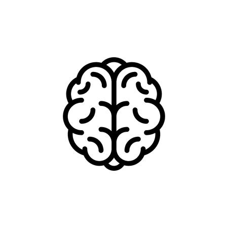 Stylized human brain icon. Black and white silhouette illustration.