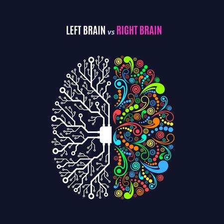 Concepto de funciones del cerebro izquierdo y derecho, analítico vs creatividad