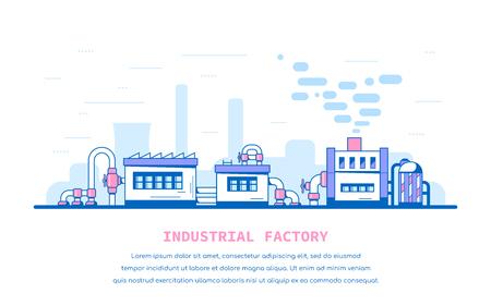 Industrial factory buildings and facilities. Big pipes and faucets. Flat style line art illustration, banner design.