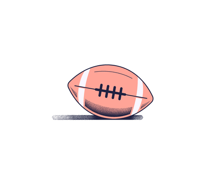 Outlined Flat style illustration of american football. Modern icon design isolated on white background.