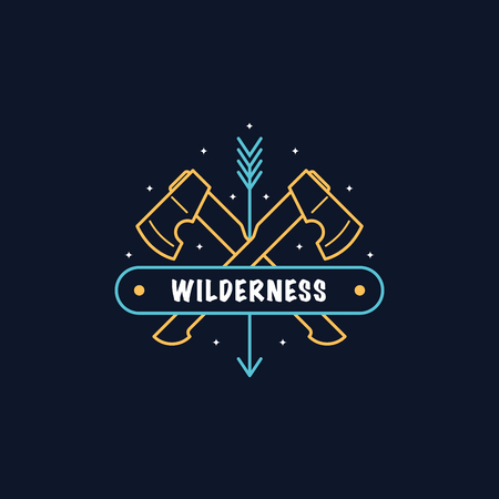 Two crossed axes. Bushcraft camp logo design. Wild forest survival. Line art flat style illustration.