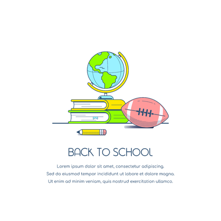 Back to school concept banner. Still life image with books, globe, pencil, and football isolated on white background. Flat style illustration.