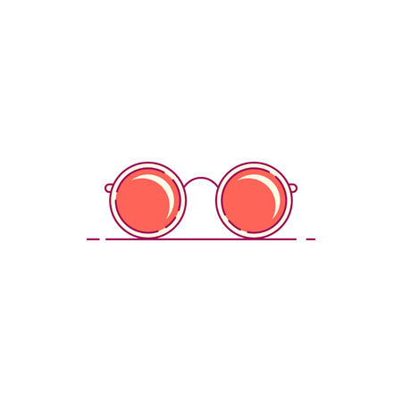 Round sunglasses icon isolated on white background. Flat style lineart illustration. Foto de archivo - 118208012