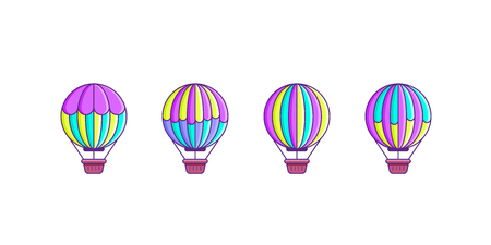 Set of balloon icons isolated on white background. Flat style line art illustration.