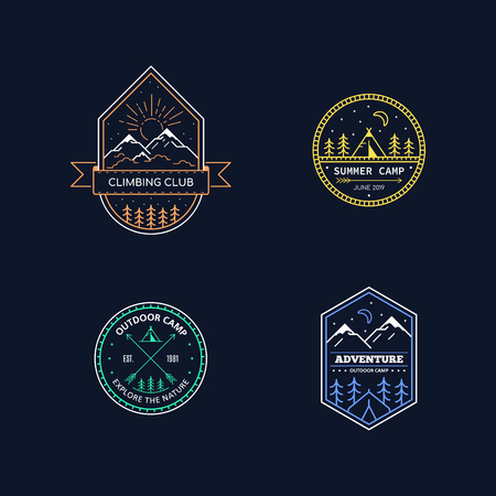Set of badge design for outdoor activities. Line art illustration. Mountain expedition, outdoor camp, wilderness, nature adventure. Illusztráció