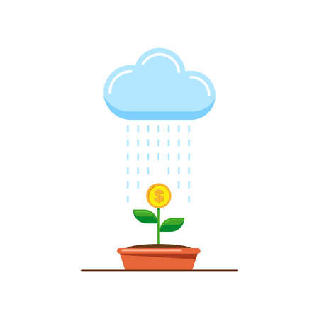 Picture of money tree, cloud and rain. Investment and business growth concept. Flat style illustration. Ilustracja