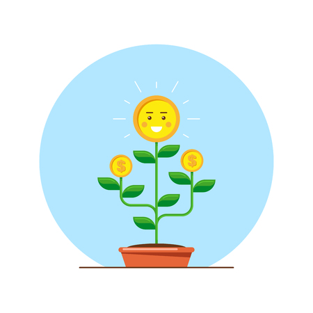 Money tree character. Investmen, money growth concept. Flat style illustration.