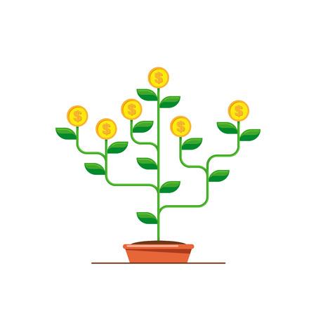 Money tree icon. Investmen, money growth concept. Flat style illustration. Banco de Imagens - 120618582