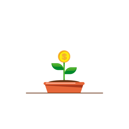 Money tree icon. Investmen, money growth concept. Flat style illustration. Banco de Imagens - 120618583