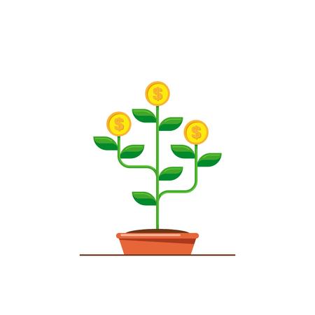 Money tree icon. Investmen, money growth concept. Flat style illustration. Ilustração