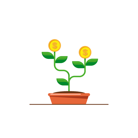 Money tree icon. Investmen, money growth concept. Flat style illustration. Banco de Imagens - 120618595