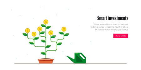 Smart investment concept banner. Money tree concept. Flat style illustration. Banco de Imagens - 120618596
