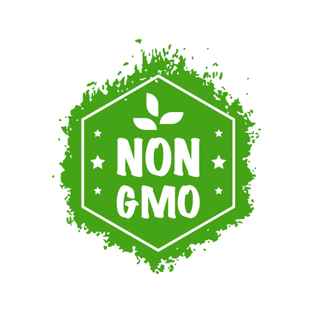 Gmo free badge. Flat style design of packaging seal, sticker or icon isolated on white background Banco de Imagens - 120618597
