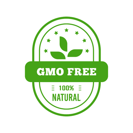 Gmo free badge. Flat style design of packaging seal, sticker or icon isolated on white background