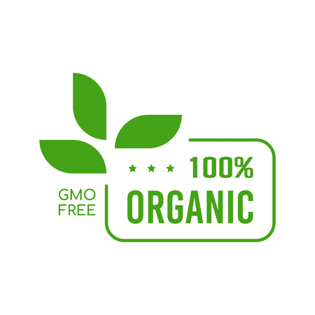 Gmo free badge. Flat style design of packaging seal, sticker or icon isolated on white background Ilustração