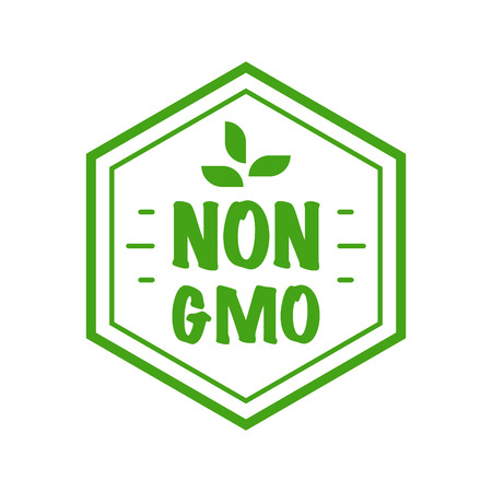 Gmo free badge. Flat style design of packaging seal, sticker or icon isolated on white background Banco de Imagens - 120618600