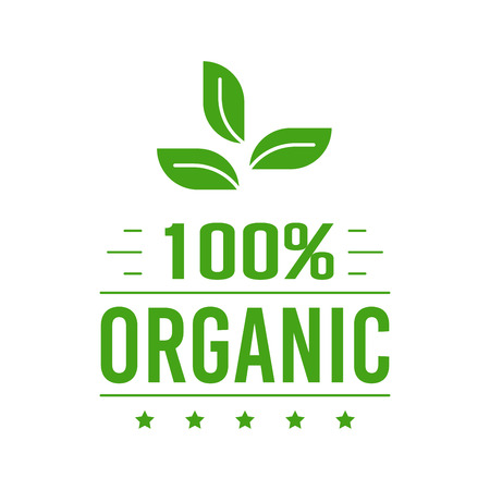 Natural Organic product. Flat style design of packaging seal, sticker or icon isolated on white background