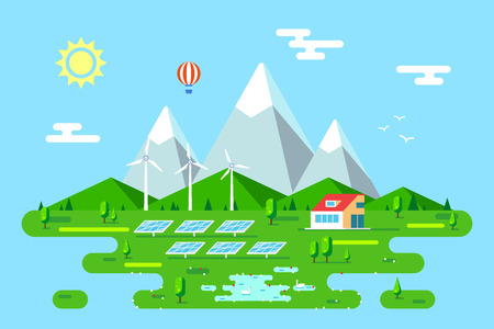 Summer landscape with eco friendly house. Solar panels and wind turbines. Flat style illustration. Renewable energy concept. Banco de Imagens - 120618605