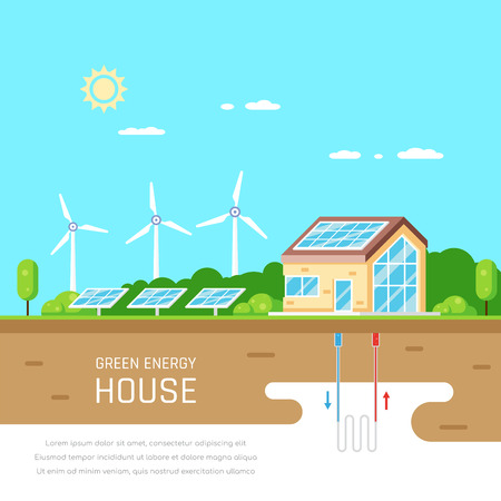Ecofriendly family house. Green energy. Solar, wind and geothermal power. Flat style illustration. Renewable energy concept. Banco de Imagens - 120618606