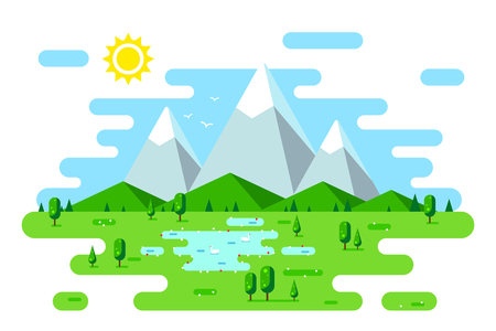 Summer landscape with hills, mountains and trees. Hello summer concept. Flat style illustration. Banco de Imagens - 120618608